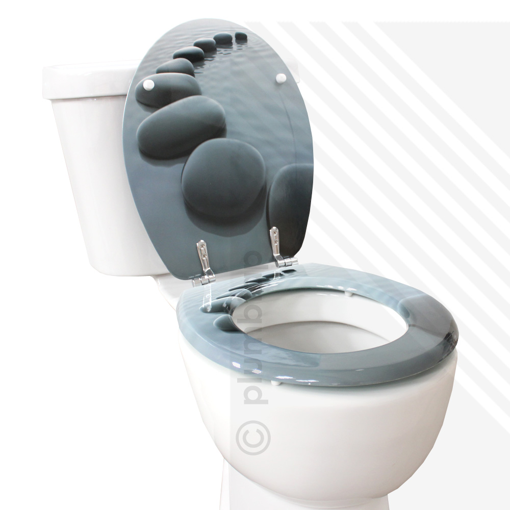 Mdf Stepping Stones Print Novelty Toilet Seat With Chrome